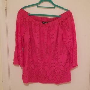 NY&Co Pink XL Off-the-Shoulder Bell Sleeve Top